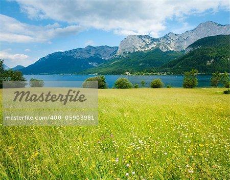 Beautiful summer Alpine  lake Grundlsee view (Austria)