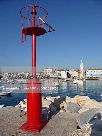 Old adriatic Town of Fazana, behind red beacon, Istria, Croatia
