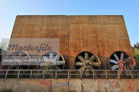 Industrial Fans, Landschaftspark Duisburg Nord, Meiderich Huette, Duisburg, Ruhr Basin, North Rhine Westphalia, Germany