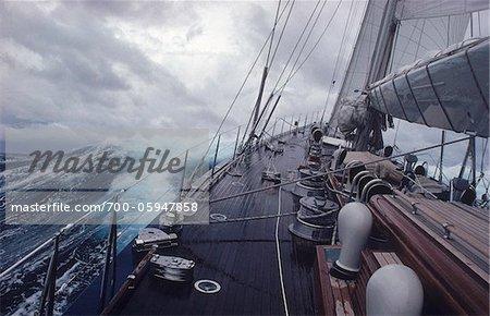 Yacht Endeavour Sailing Through Stormy Seas, Atlantic Ocean
