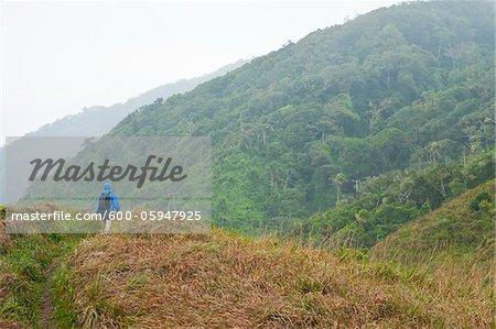 Backview of Woman Hiking, Ilha do Mel, Parana, Brazil