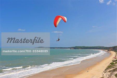Paraglider Over Cacimbinhas Beach, Pipa, Rio Grande do Norte, Brazil