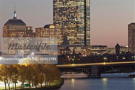 Teddy Ebersol Field and Back Bay at dusk, Boston, Massachusetts, USA