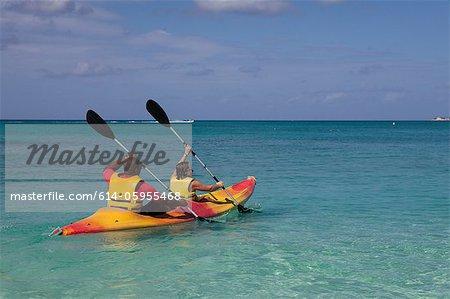 Two people kayaking in Caribbean sea, Grand Cayman, Cayman Islands