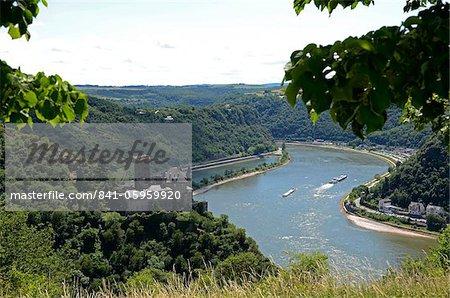 St. Goarshausen, Katz Castle and the River Rhine, Rhine Valley, Rhineland-Palatinate, Germany, Europe