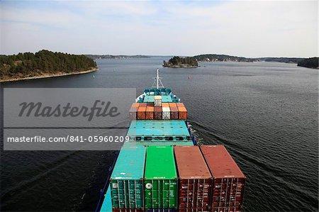 Navire et skerry paysage près de Stockholm, en Suède, Scandinavie, Europe