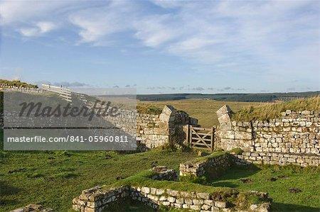 37 Milecastle looking west, mur d'Hadrien, UNESCO World Heritage Site, Northumbria National Park, Northumberland, Angleterre, Royaume-Uni, Europe