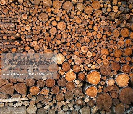 Tas de bois dans le village Walser de Grimentz, Valais, Grisons, Suisse, Europe