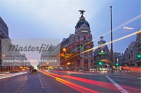 Gran Via, Calle de Alcala, Madrid, Espagne, Europe