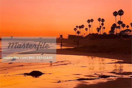 Sunset at Corona del Mar Beach, Newport Beach, Orange County, California, United States of America, North America