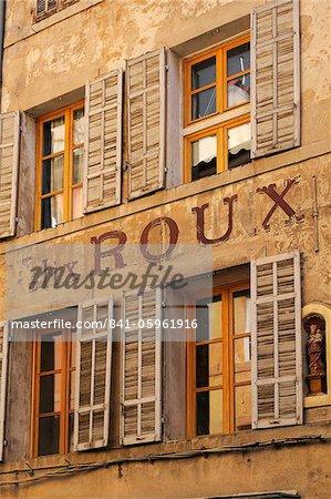 Ancienne enseigne publicitaire sur le côté d'un bâtiment, Aix-en-Provence, Bouches-du-Rhône, Provence, France, Europe