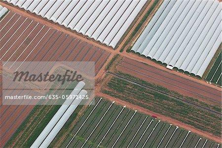 Vue aérienne de serres dans les champs cultivés