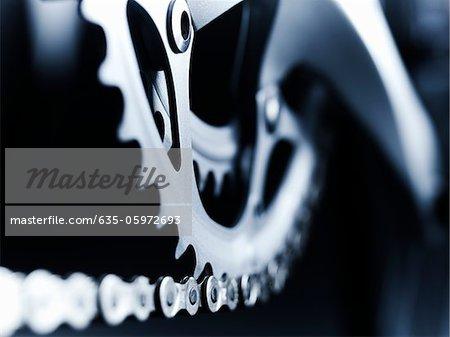 Nahaufnahme von Fahrrad-Kette und Zahnräder