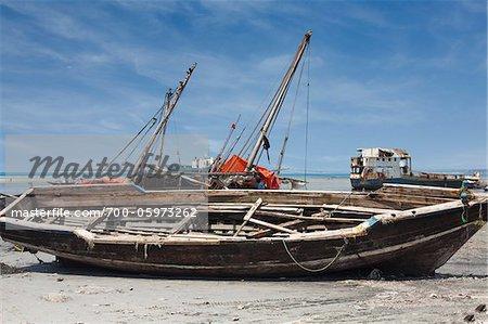 Fishing Boat at Low Tide, Stone Town, Zanzibar, United Republic of Tanzania