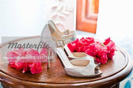 Chaussures argent et fleurs roses