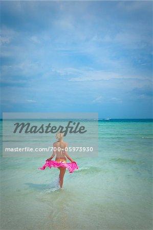 Woman on Wading in Ocean, Krabi, Thailand