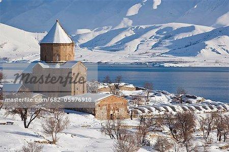 Church of the Holy Cross in snow, Akdamar Island, Anatolia Region, Turkey