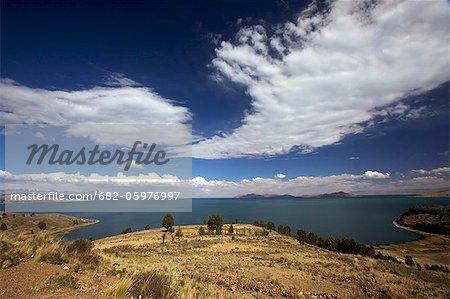 Typical landscapes around Lake Titicaca shoreline, Bolivia, La Paz, South America