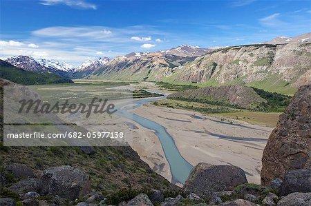 View of the Vueltas river valley, El Chalten, Santa Cruz Province, Patagonia, Argentina, South America