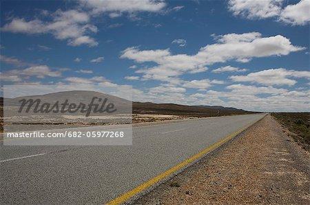 Route goudronnée avec marquages, Province de Northern Cape, en Afrique du Sud