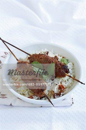 Lamb koftas with minted rice pilaf