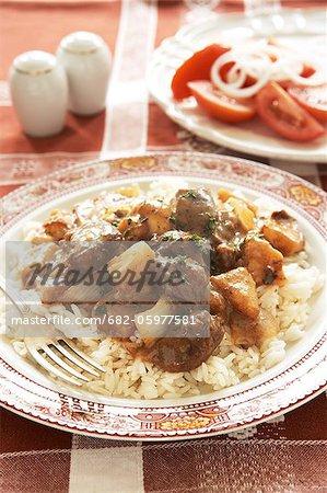 Cuisine traditionnelle de Karoo. Ragoût de gibier servi avec du riz