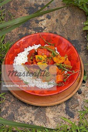 Traditionelle Afrikanisch kochen. Dungu Curry, Gemüse und Reis. Zutaten - Karotten, Bohnen, Zwiebeln, Paprika, Tomaten