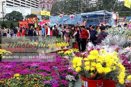 Menschen einkaufen bei Chinese New Year Blume Markt, Causeway Bay, Hong Kong
