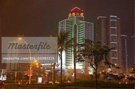 Downtown at night, Shantou, China