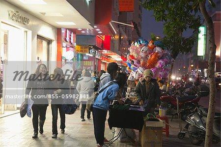 Downtown of Kaiping city at night, Kaiping, Guangdong Province, China