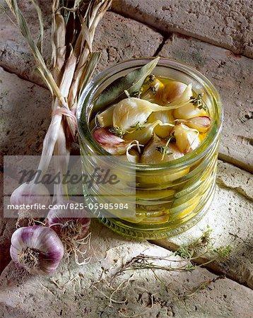 jar of  preserved young garlic