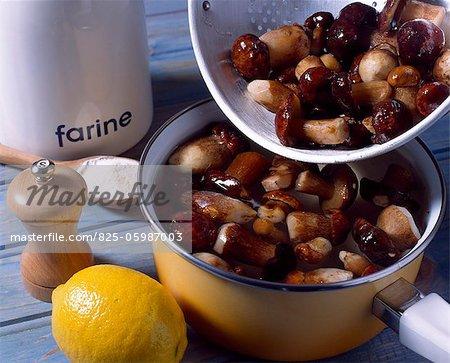 preparing mushrooms for ceps in vinegar recipe