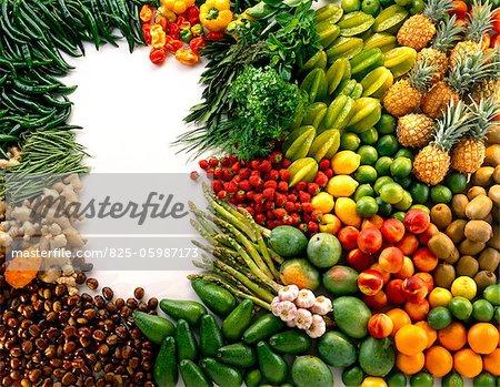 sélection de fruits et légumes