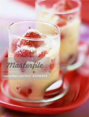 Strawberry and meringue Sabayon dessert