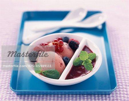 Purée de fruits sorbet aux fraises et framboises d'été