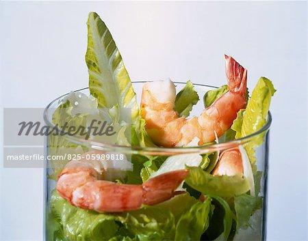 Salade de crevettes et Parmesan