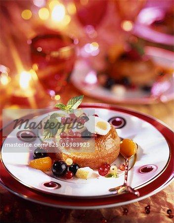 Baba au rhum Noël avec fruits frais