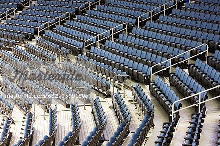 Bleachers in stadium, high angle view
