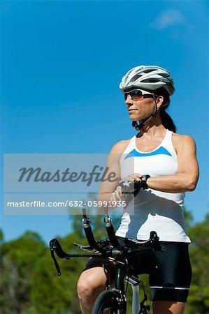 Pause prise cycliste féminine
