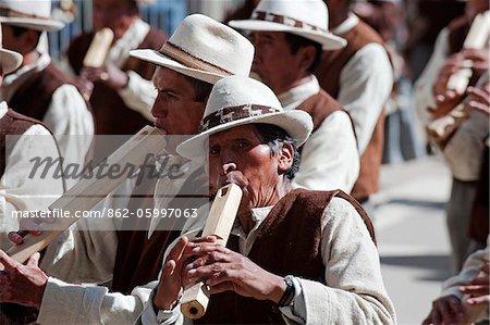 South America, Bolivia, Oruro Carnival, Anata Andina harvest festival; Flute players