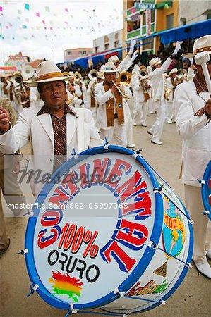 South America, Bolivia, Oruro, Oruro Carnival; Procession drum player