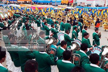 South America, Bolivia, Oruro, Oruro Carnival; brass band procession