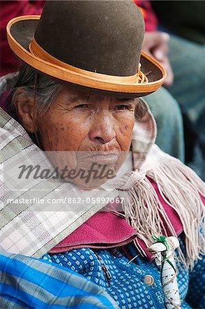 South America, Bolivia, Oruro, Oruro Carnival; woman in traditional dress