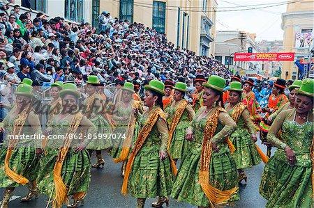 South America, Bolivia, Oruro, Oruro Carnival,  Women in procession