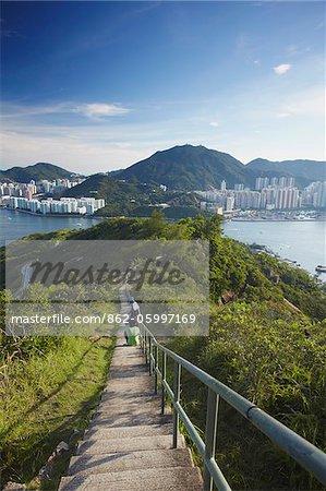View of Shau Kei Wan on Hong Kong Island from Devil's Peak, Kowloon, Hong Kong, China