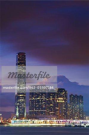 International Commerce Center (ICC) at dusk, Kowloon, Hong Kong, China