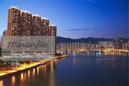 High-rise apartments in Tsing Yi and Tseun Wan, New Territories, Hong Kong, China