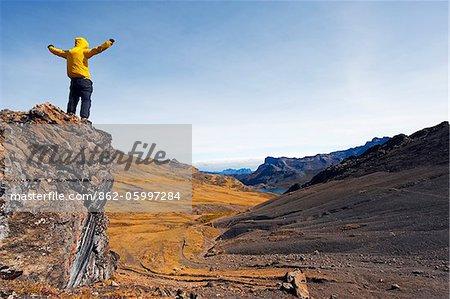Amérique du Sud, randonneur de Colombie, Parc National dEl Cocuy, à Boqueron del Carmen Pass (4300m)