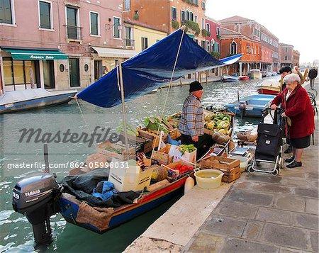 Traditional street vendor in Murano, Venice, Veneto region, Italy