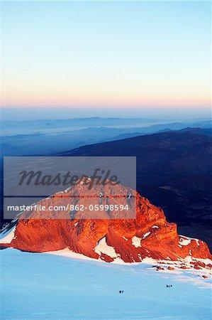 L'Amérique du Nord, Mexique, pic d'Orizaba (5610m) ; plus haute montagne au Mexique, l'état de Veracruz, sunrise